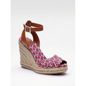 TORY BURCH Pink Frog Lilypad Wedges Sz 10 NEW